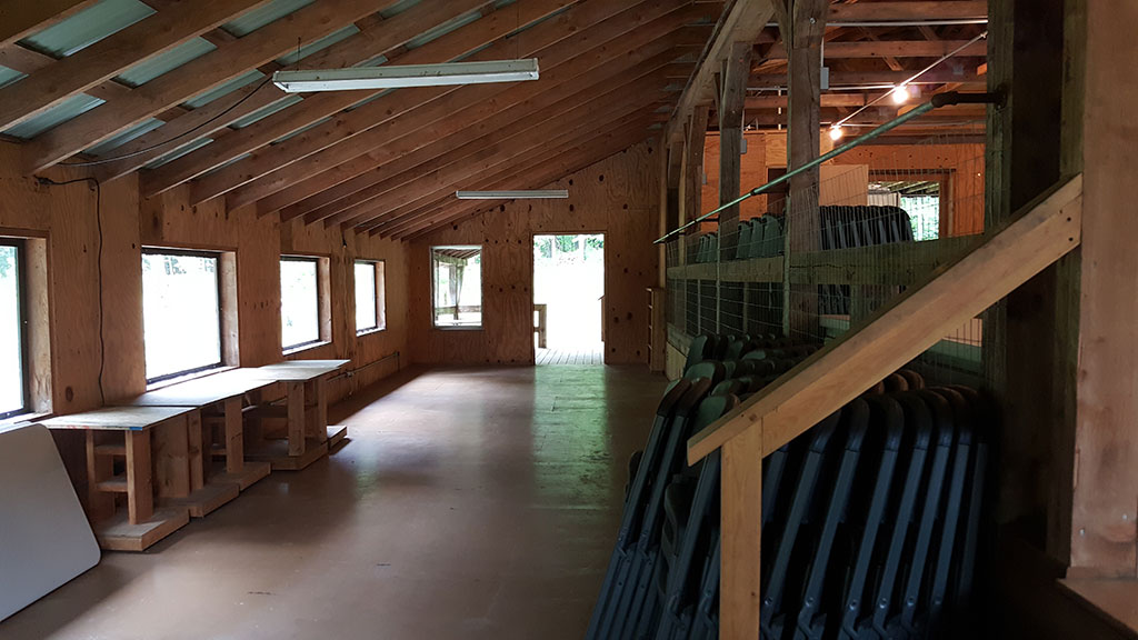 Lower portion of activity barn