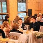 Dining in activity barn, wedding reception