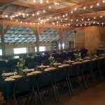 activity barn prepared for a banquet