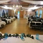 activity barn decorated for a wedding in daylight